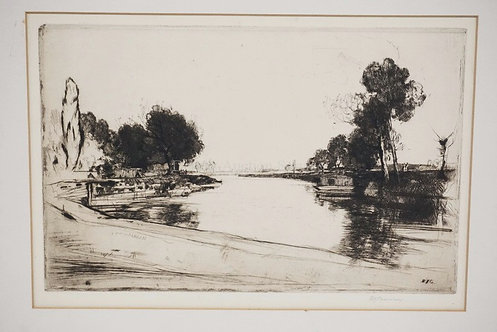DAVID YOUNG CAMERON ETCHING OF A WATERWAY WITH TREES. 12 X 7 5/8 INCH IMAGE. PEN