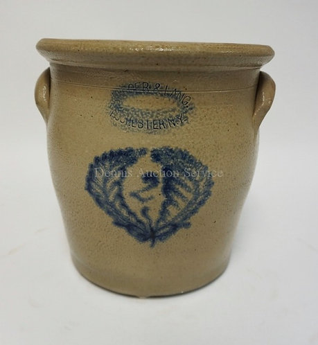 BURGER & LANG, ROCHESTER N.Y. 2 GALLON BLUE DECORATED STONEWARE CROCK. 10 1/2 IN