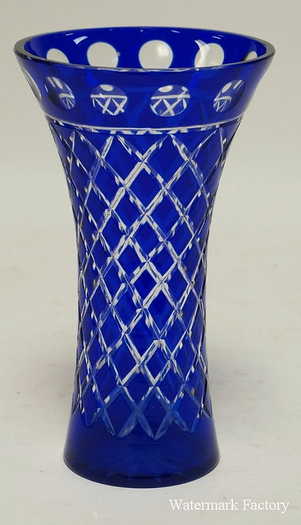 COBALT BLUE CUT TO CLEAR VASE. 9 INCHES HIGH.
