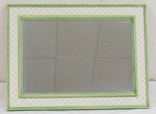 DECORATIVE WALL MIRROR IN GREEN AND WHITE PAINT. 37 3/4 X 28 1/4 INCHES.