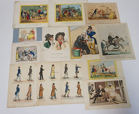 LOT OF 12 HAND COLORED FRENCH PRINTS INCLUDING SATYRICAL SCENES. LARGEST IMPRESS