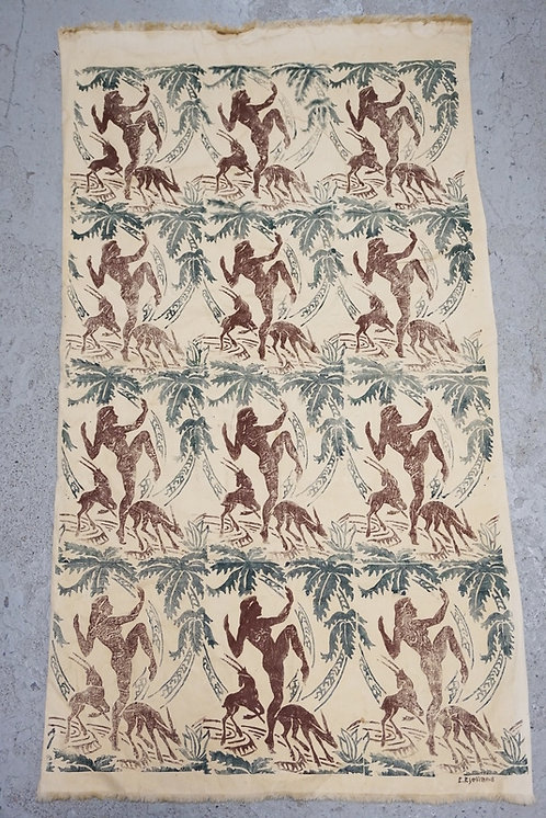 1259_MCM FABRIC BY *E. KJELLAND* FEATURING IMAGES OF DANCING NUDE WOMEN AND GAZE