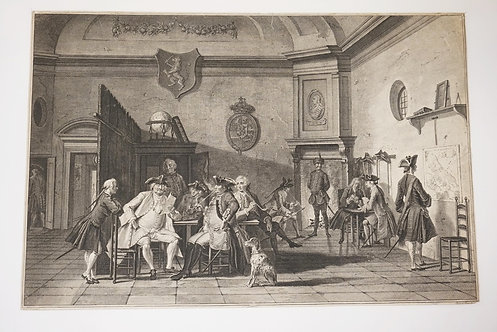ANTIQUE ENGRAVING AFTER A PAINTING BY C. TROOST. DEPICTS A GROUP OF MILITARY LEA