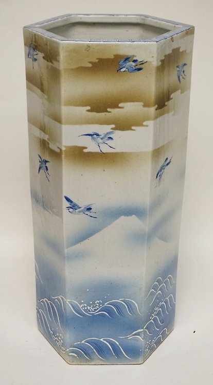 ASIAN PORCELAIN UMBRELLA STAND DECORATED WITH BIRDS, CLOUDS, WAVES, AND MT. FUJI