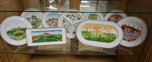 9 PC VILLEROY AND BOCH DESIGN NAIF. INCLUDES ONE PIECE NAIF CHRISTMAS. PLATES AR