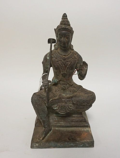 ASIAN BRONZE SEATED FIGURE. 9 INCHES HIGH.
