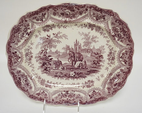 PURPLE TRANSFER PLATTER *MOGUL SCENERY* BY T MAYER, STOKE ON TRENT. 13 IN X 11 I