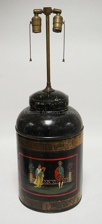 SAVAGE OF LONDON PAINTED TIN CANISTER MADE INTO A LAMP. 29 1/4 INCHES HIGH.