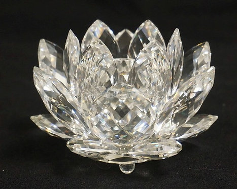 SWAROVSKI CRYSTAL WATER LILY CANDLE HOLDER. 3 7/8 INCH DIA. COMES WITH ORIGINAL