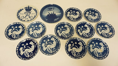 13 ROYAL COPENHAGEN PLATES. 11 MOTHERS DAY PLATES. A 1972 CORONOATION PLATE, AND