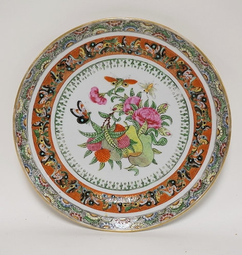 ANTIQUE ASIAN PORCELAIN PLATE DECORATED WITH PEARS, BERRIES, FLOWERS, AND BUTTER