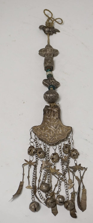ETHNIC SILVER NECKLACE COMPRISED OF SEVERAL HAND EMBELLISHED SECTIONS ALONG WITH