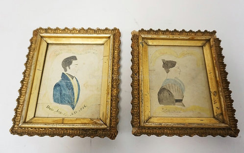 PAIR OF 1836 WATERCOLOR PROFILE PORTRAITS OF WILLIAM AND ANNA MERSHON IN MATCHIN