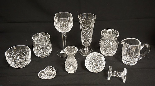 10 PIECE LOT OF ASSORTED WATERFORD CRYSTAL. TALLEST PIECE IS 7 3/8 INCHES.