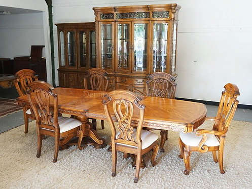 8 PIECE *AICO* DINING ROOM SET CONSISTING OF A LARGE 2 PIECE BREAKFRONT WITH GLA