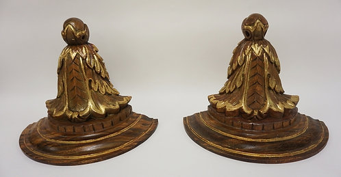 PAIR OF CARVED WOODEN WALL SHELVES WITH GILT ACCENTS. 11 3/4 IN H, 15 1/8 IN WID