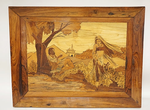 INTRICATELY INLAID WOODEN ART DEPICTING A MAN AND A WOMAN IN THE COUNTRYSIDE. 26