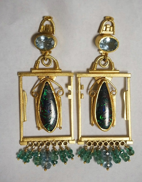 STEPHANI BRIGGS *TEMPLE EARRINGS* SET WITH FACETED AQUAMARINE, BOULDER OPALS, AN