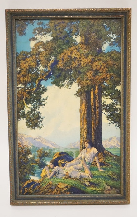 MAXFIELD PARRISH SMALL HILLTOP. ORIGINAL FRAME. 6 IN X 10 IN