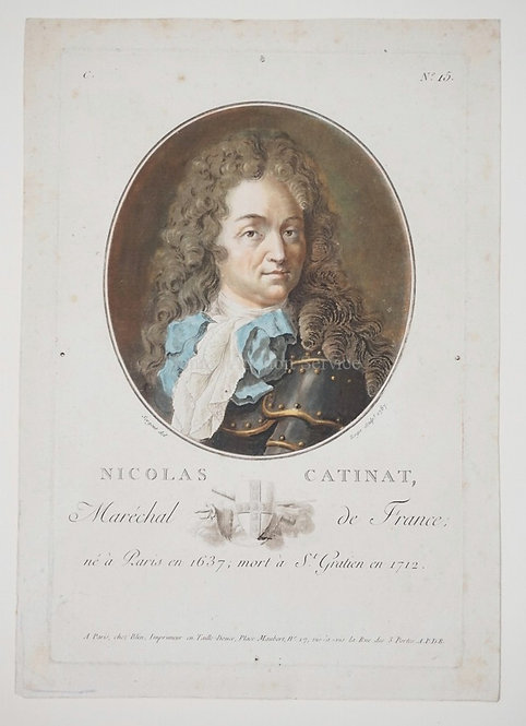 L. ROGER AFTER A.F. SERGENT. NICOLAS CATINET. COLOR WASH MANNER PRINT, 1787. P&B