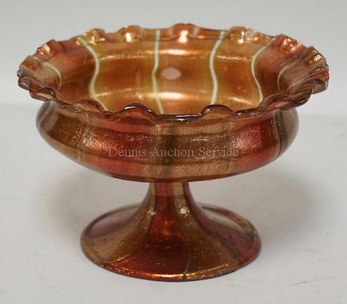 ART GLASS COMPOTE WITH A PEDESTAL FOOT AND A RUFFLED TOP. 6 3/4 INCHES WIDE. 4 1