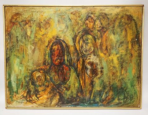 MARIE WILNER (B. 1910, NEW YORK). MCM OIL PAINTING ON CANVAS OF SEVERAL FIGURES.