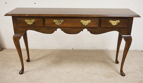 MAHOGANY SOFA TABLE WITH CABRIOLE LEGS AND 3 DRAWERS. 52 INCHES WODE. 28 INCHES