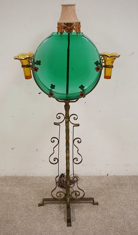 VICTORIAN FISH BOWL PEDESTAL WITH VASE INSERTS AND A LIGHT FIXTURE ON THE BACK.