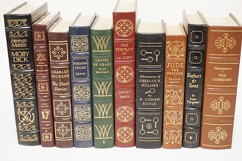 LOT OF 10 EASTON PRESS LEATHERBOUND BOOKS WITH GOLD GILT EDGES.
