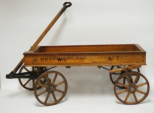 *SHERWOOD SPRING COASTER* WOODEN WAGON WITH SPRING SUSPENSION. 42 INCHES LONG. 1
