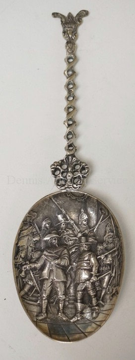 DUTCH .833 SILVER SPOON WITH A RELIEF DECORATED BOWL HAVING A REMBRANDT SCENE OR