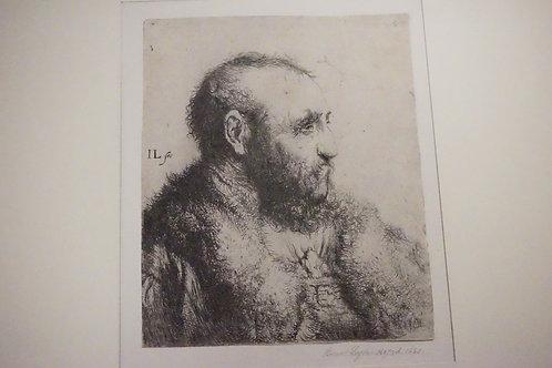 JAN LIEVENS PORTRAIT ETCHING OF ? LEYDEN. B1607, D. 1663. TRIMMED AT THE PLATEMA