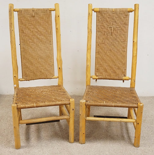PAIR OF ADIRONDACK STYLE CHAIRS WITH WOVEN SEATS AND BACK RESTS (HAS WEAR/LOSSES