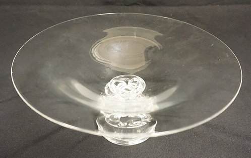 STEUBEN CRYSTAL COMPOTE WITH 4 PART STEM. 10 IN DIAMETER, 4 3/4 IN H