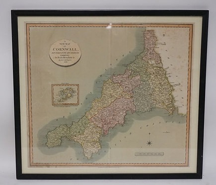 HAND COLORED MAP OF *CORNWALL DIVIDED INTO HUNDREDS. EXHIBITING ITS ROADS, RIVER