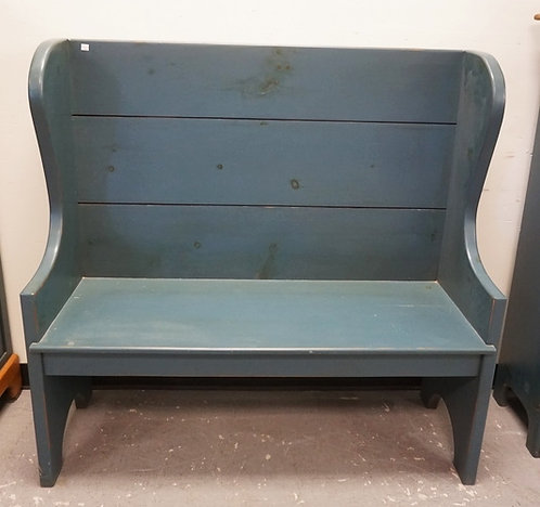 COUNTRY STYLED BENCH. PINE WITH BLUE PAINT. 47 INCHES HIGH. 48 INCHES WIDE.