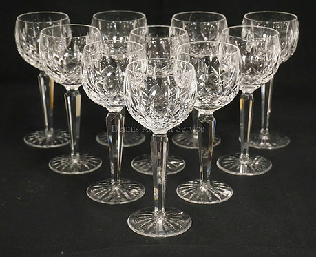 SET OF 10 WATERFORD *LISMORE* CUT CRYSTAL WINE GOBLETS. 7 3/8 INCHES HIGH.