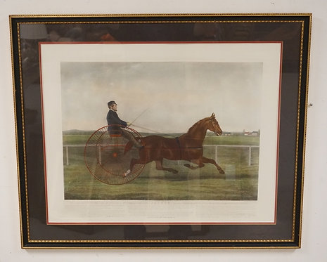 .G. LEWIS COLORED ENGRAVING OF *JACKEY* A TROTTING HORSE AFTER A PAINTING BY DAL