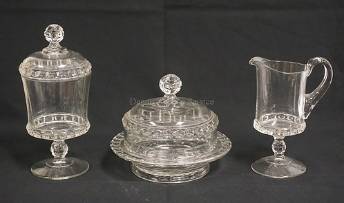 3 PIECE EAPG *DAKOTA* PATTERN GLASS. COVERED BUTTER, COVERED SUGAR, AND A CREAME