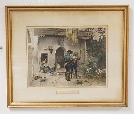 1877 PRINT AFTER JULES WORMS *LA FLEUR PREFEREE*. 15 1/4 X 11 3/4 INCH SIGHT SIZ
