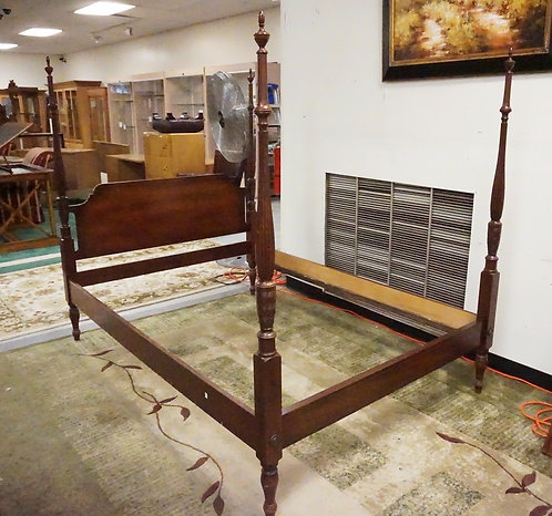 HENREDON MAHOGANY POSTER BED. FLUTED POSTS. LINE INLAID. FULL SIZE.