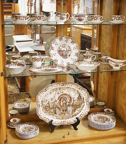 45 PIECES OF JOHNSON BROS*HIS MAJESTRY* DINNERWARE SET. PLATTER IS 20 X 15 1/2 I