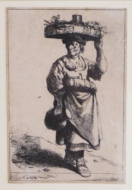 CORNELIS BEGA (DUTCH, 1620-1664) WOMAN CARRYING BASKET AND JUG. ETCHING. 4 1/4 X