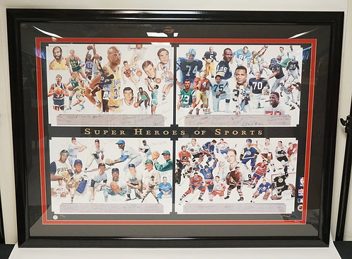 67 SPORTS AUTOGRAPHS ON A LIMITED EDITION PRINT TITLED *SUPER HEROES OF SPORTS*.