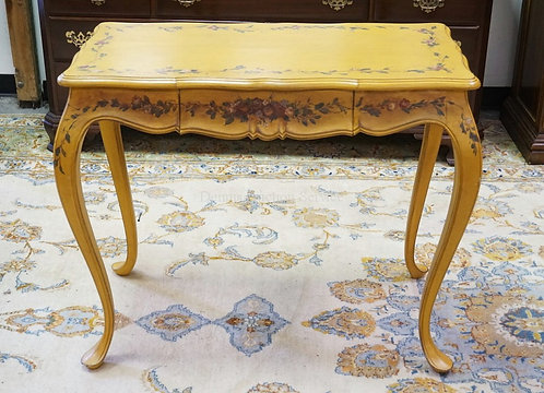 PAINT DECORATED TABLE WITH ONE DRAWER. 36 X 18 INCH TOP. 30 INCHES HIGH.