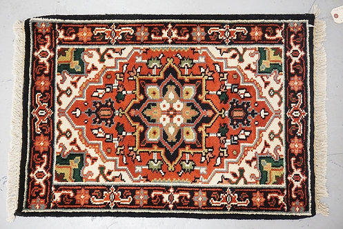 HAND WOVEN ORIENTAL RUG MEASURING 2 FT 9 X 1 FT 11 INCHES.