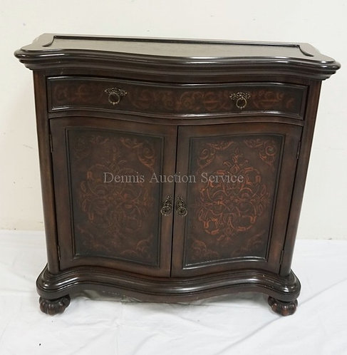 CONSOLE CABINET WITH ONE DRAWER OVER 2 DOORS. SERPENTINE FRONT.