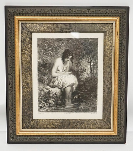 LITHO AFTER A PAINTING BY ROBERT FLEURY  OF A WOMAN SEATED IN THE WOODS WITH HER