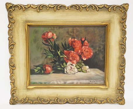 DOROTHY WARREN STILL LIFE OF ROSES LAYING ON A TABLE. 13 1/2 X 10 1/2 INCH SIGHT