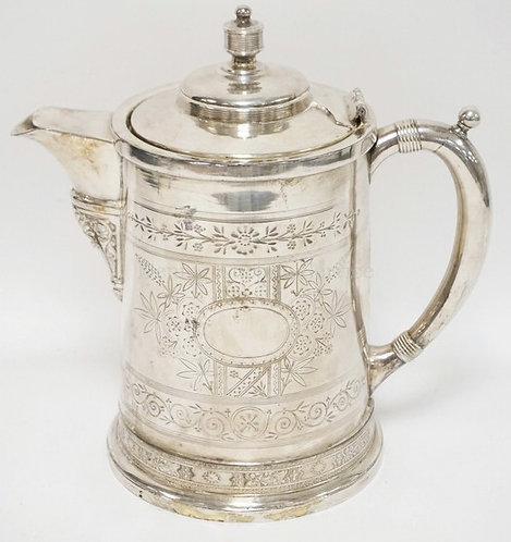 VICTORIAN SILVER PLATED ICE WATER PITCHER. 11 IN H